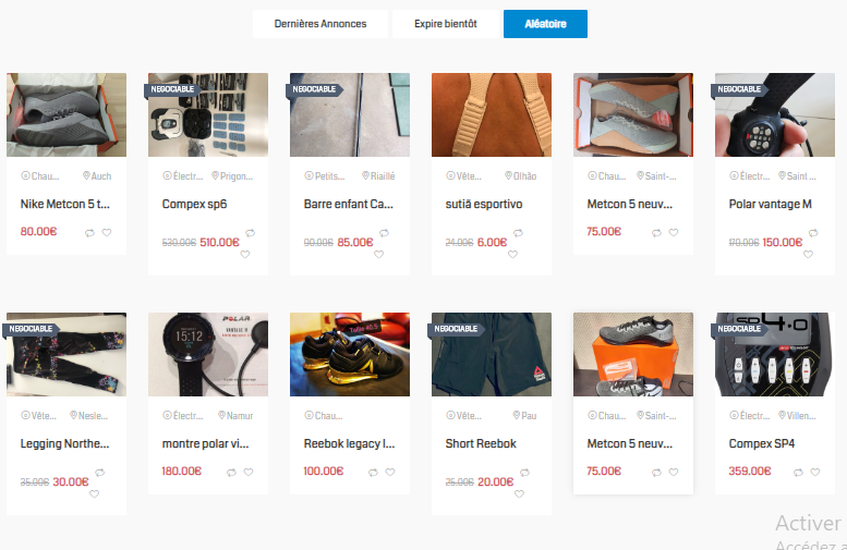 vente particulier matériel crossfit